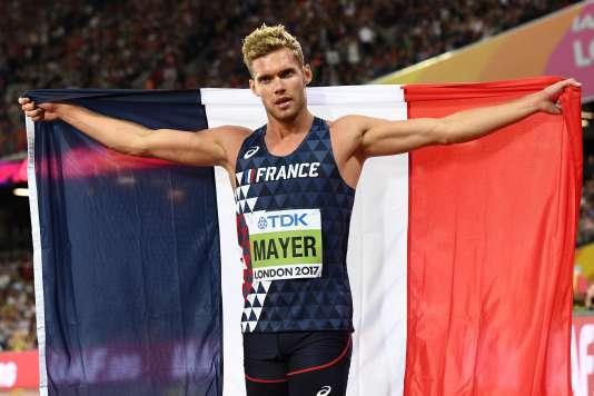 Kevin Mayer après sa victoire dans le décathlon, le 12 août à Londres.