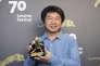 Le cinéaste chinois Wang Bing récompensé par le Léopard d'or pour «Mrs Fang» au 70e Festival du film de Locarno, le 12 août 2017.