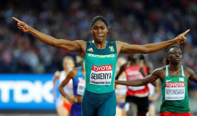 Caster Semenya, lors des championnats du monde d'athlétisme à Londres, en 2017.