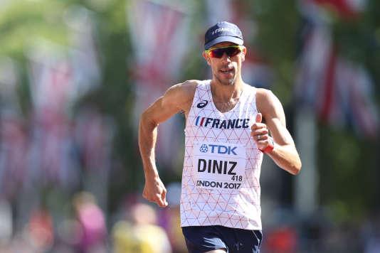 Le marcheur Yohann Diniz pour la première fois champion du monde, après sa victoire à Londres le 13 août.