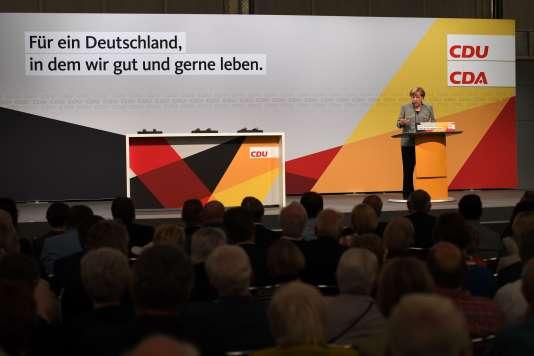 Discours d'Angela Merkel, dans le cadre d'une rencontre organisée par l'Organisation des travailleurs chrétiens-démocrates (CDA), à Dortmund, le 12 août.