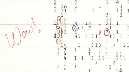 Cette suite de chiffres et de lettres, entourée par Jerry Ehman lorsqu'il parcourut les relevés d'observation,est la seule trace que le radiotélescope a gardé du signal« Wow!».