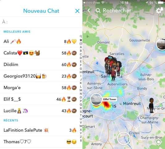 À gauche, les flammes, à droite, la « Snap Map » de Yacine.