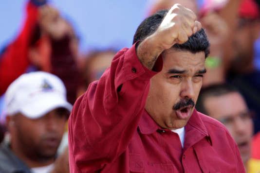 Le président vénézuélien Nicolas Maduro lors d'un rassemblement à Caracas le 14août.