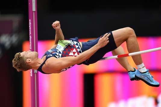 Kevin Mayer, lors de l'épreuve de saut en hauteur, le 11 août. Le décathlonien remportera la médaille d'or.