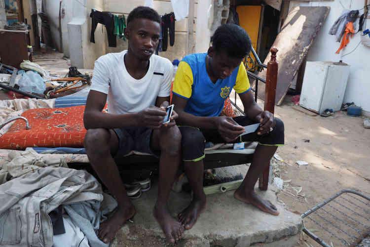 Aberhamane et Slimane ont 19ans. Ils attendent d'avoir assez d'argent pour rentrer dans leur pays d'origine, le Niger. Ils font le tri lors de la collecte des déchets pour revendre des pièces détachées et du pain sec pour les éleveurs d'animaux, et s'assurer ainsi un revenu.