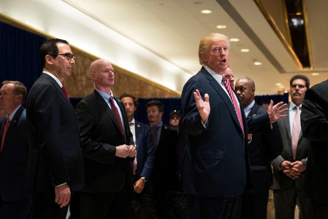 Le président états-unien, Donald Trump, mardi 15 août, à la Trump Tower, à New York.