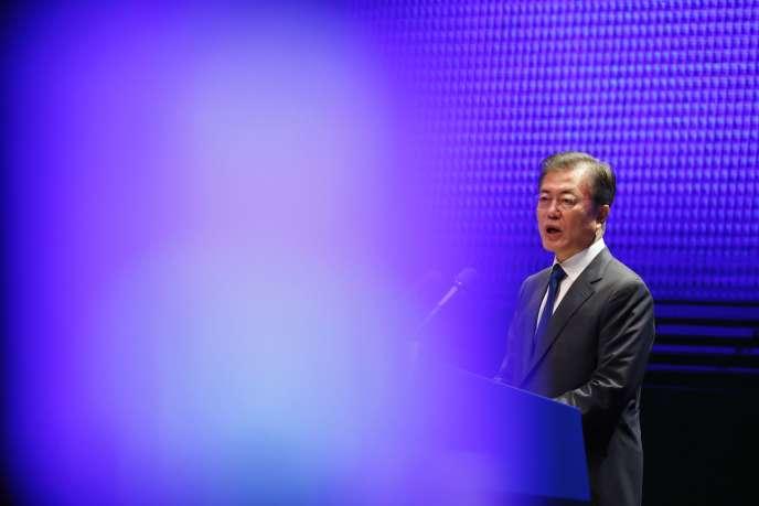 Le président sud-coréen, Moon Jae-in, lors du 72e anniversaire de la libération coréenne de l'empire japonais, le 15 août.