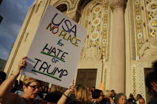 Protesters prepare to march in Philadelphia, Wednesday, Aug. 16, 2017, from Congregation Rodeph Shalom in response to a white nationalist rally held in Charlottesville, Va., over the weekend. (AP Photo/Matt Slocum)