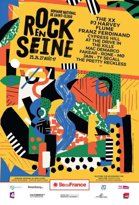 Affiche du festival Rock en Seine, auDomaine national de Saint-Cloud.