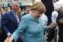 La chancelière allemande Angela Merkel en campagne à Heilbronn, dans le sud de l'Allemagne, le 16 août.