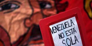 Lors d'une manifestation de soutien à l'opposition vénézuelienne, à Buenos Aires le 17août.