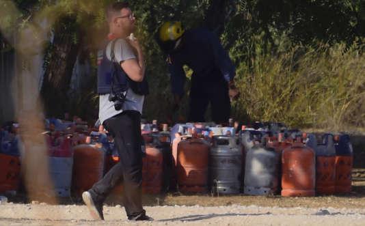 Les bouteilles de gaz retrouvées à Alcanar, en Espagne, le 18août 2017.