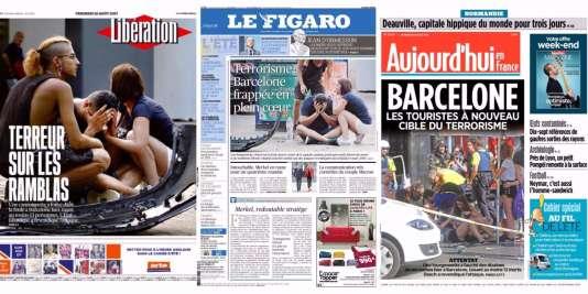 Les «unes»de «Libération», «Le Figaro» et «Aujourd'hui en France» datées du 18août.