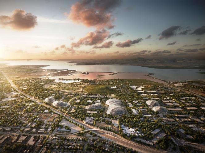 Vue aérienne du projet d'extension du siège social de Google, à Mountain View, dessiné par les architectes Thomas Heatherwick et Bjarke Ingels.