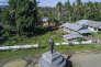 Morotai, le 12 juin 2017. Une statue à la mémoire du soldat Teruo Nakamura est érigée à un carrefour sur l'île de Morotai.