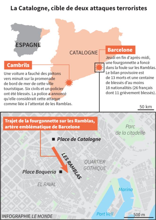 Les attentats ont touché deux villes séparées d'une centaine de kilomètres.