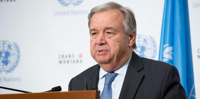 Le secrétaire général des Nations unies, Antonio Guterres, à Crans-Montana, en Suisse, le 7juillet 2017.
