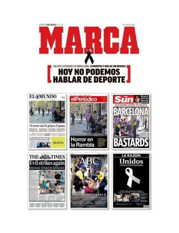 La «une»du journal sportif« Marca» :« Aujourd'hui, nous ne pouvons pas parler de sport.»