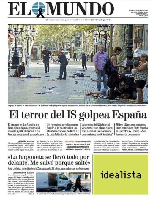 A la «une»d'« El Mundo» :« La terreur de l'EI frappe l'Espagne»