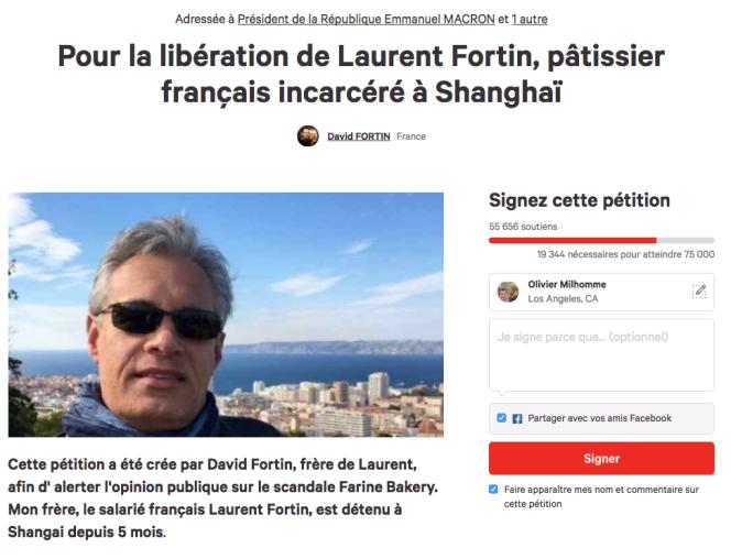 Pétition «Pour la libération de Laurent Fortin, pâtissier français incarcéré à Shanghaï», lancée par David Fortin, le frère du pâtissier incarcéré en Chine. Capture d'écran.