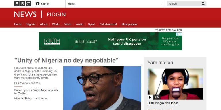 La BBC a lancé lundi 21 août son portail Internet en pidgin, le créole anglophone ouest-africain parlé dans quatre pays d'Afrique et plus de 75 millions de Nigérians.