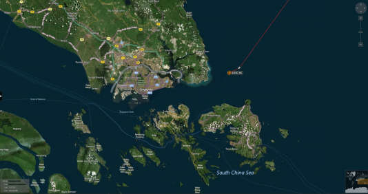 Carte montrant le lieu de la collision entre le destroyer américain «John-S.-McCain» et un navire marchand, le 21 août.