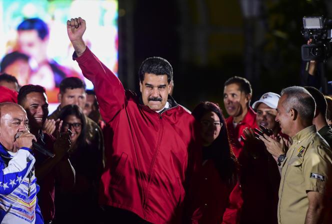 Le président Nicolas Maduro célèbre l'élection de l'Assemblée consituante, le 31 juillet 2017, à Caracas.
