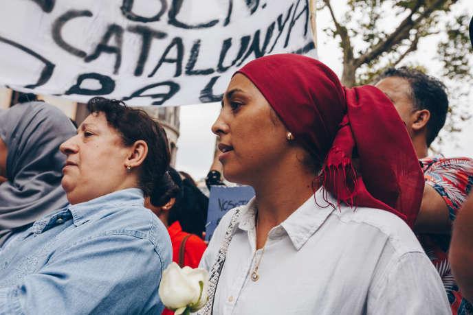 Lors d'un rassemblement de musulmans sur les Ramblas, à Barcelone, le 19 août.