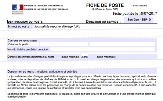 """Extrait de l'une des fiches de poste consultées par """"Le Monde""""."""