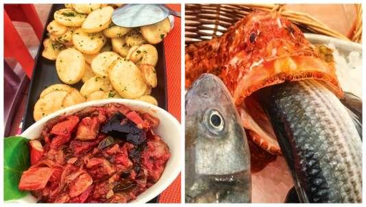 Le plateau de gros poissons pour deux est affiché à 320 €(à gauche).