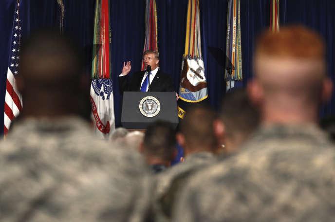 Donald Trump lors de la présentation de son plan d'action en Afghanistan, à Fort Myer (Virginie), le 21 août.