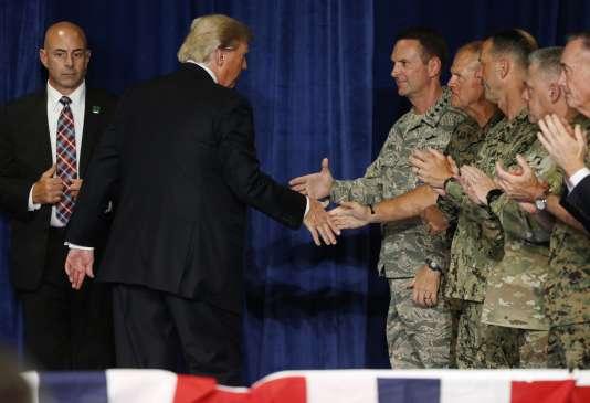 Donald Trump après son discours à Fort Myer (Virginie), le 21 août.