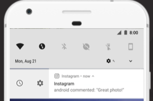 Un menu intégré à la barre des notifications permet d'accéder directement à plusieurs paramétrages.