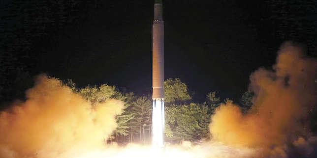 Image (non datée) du tir d'un missile intercontinental Hwasong-14, diffusée le 28 juillet par le gouvernement nord-coréen.