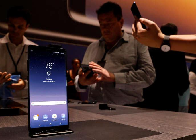 Lors de la présentation duGalaxy Note 8 de Samsung, mercredi 23 août, à New York.