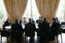 Lors d'une séance de concertation sur la réforme de la loi travail, à Matignon , le 27 juillet.