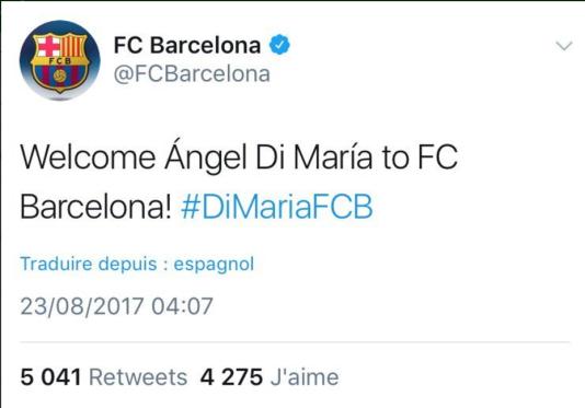 Tweet du FC Barcelone, quand leur compte a été hacké.
