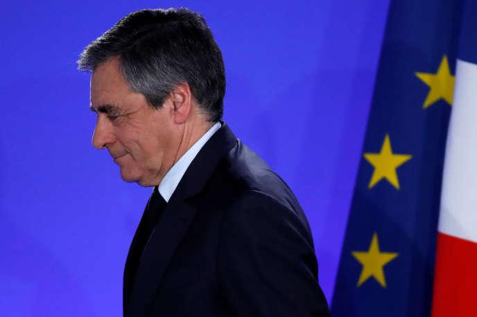 François Fillon après les résultats du premier tour de l'élection présidentielle, à Paris le 23 avril.