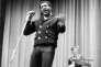 Le chanteur noir Otis Redding et le guitariste blanc Steve Cropper, deux piliers du label multiracial Stax, en janvier 1967, à New York.