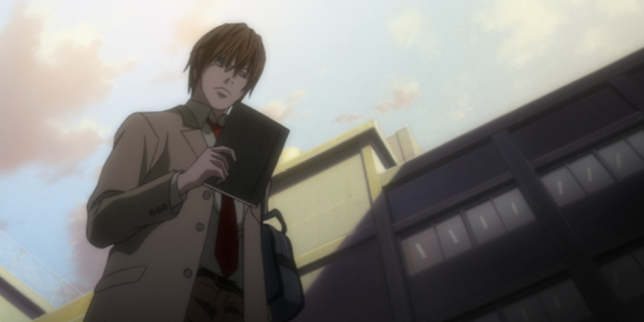 Light Yagami trouve le Death Note – le cahier de la mort.