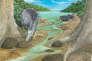 Reconstitution du dodo dans la Mare-aux-Songes, à l'île Maurice,un lieu où un grand nombre de spécimens de l'oiseau ont été trouvés.