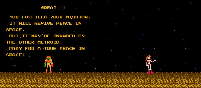 A la fin du premier« Metroid», si le joueur achève sa quête suffisamment vite, le jeu lui révèle l'identité de l'héroïne en petite tenue.