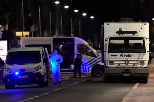 Après l'attaque à l'arme blanche qui a visé des soldats, à Bruxelles (Belgique), le 25 août.