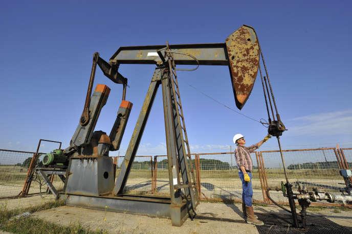Un technicien contrôle un puits d'extraction de pétrole brut, à Triguères (Loiret) en 2008.