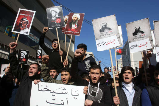 Lors d'une manifestation de soutien au cheikh Nimr Al-Nimr, à Nabatiyé (Liban), en 2016.