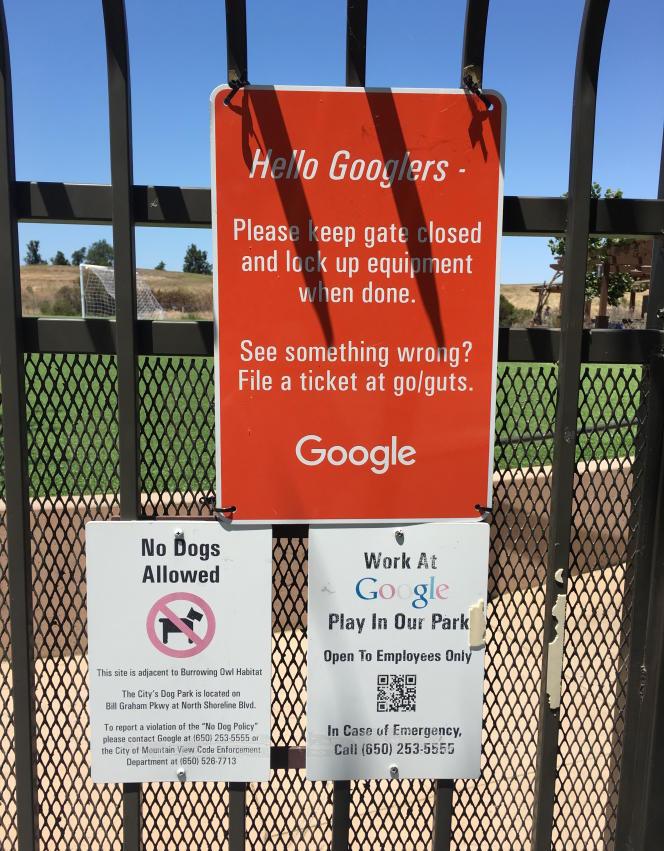 Devant un complexe sportif, sur le Googleplex, à Mountain View.