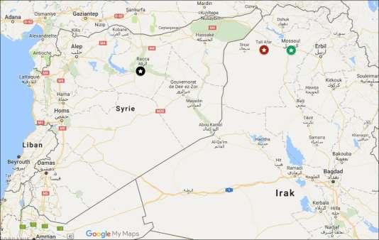 Carte de situation de la frontière irako-syrienne.
