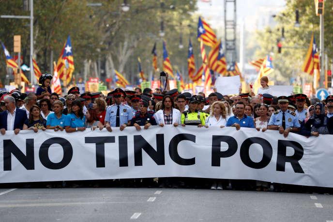 Derrière le slogan « No tinc por » (« Je n'ai pas peur », en catalan), 500 000 personnes ont manifesté le 26 août, selon la police.