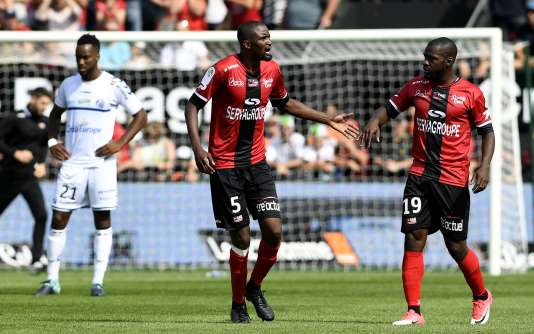 Moustapha Diallo auteur du premier but pour Guingamp face à Strasbourg.